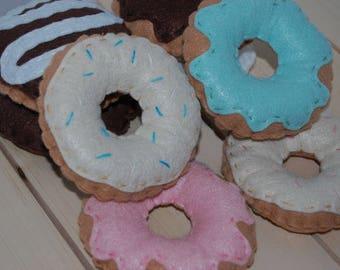 Felt Donut Set (6 Donuts) - Play Food Donuts - Pretend Kitchen - Play Kitchen Set - Felt Food - Kids Toys - Felt Food Set - Gift for Kids