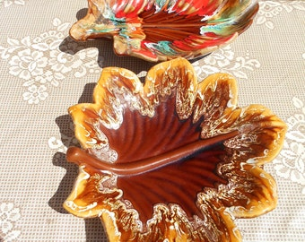 Set of Two Vintage French 1950's Vallarius - Majolica Fruit Bowls