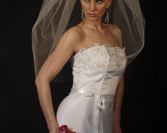 "30"" Single Tier Elbow Length Bubble Veil"