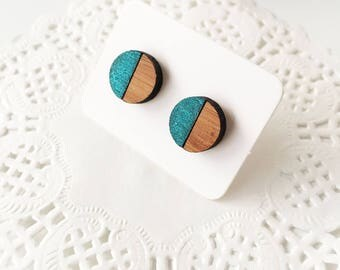 Bamboo Wooden Stud Earrings, Minimalist Jewelry, Painted Wooden Studs, Lasercut Jewelry, Round Stud Earrings, Gift for Best Friend under 10