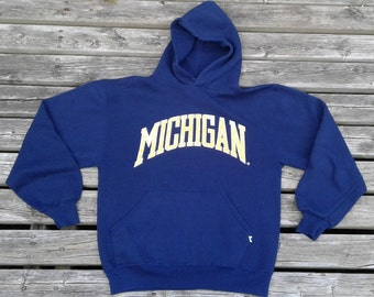 Classic University of Michigan Hooded Sweatshirt Made in USA by Russell Athletic Medium