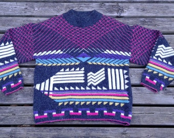 Killer 80's Knit Sweater Vintage Abstract Crazy Colours & Pattern Medium