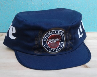 Vintage 80's / 90's Miller Lite Beer Conductor's Snapback Hat Cap Wrap Around Graphics Made in Canada