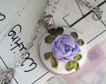 Embroidery pendant Silk ribbon Embroidery necklace Vintage wedding necklace Lilac rose Lilac rose necklace Flower charm Pink rose charm.