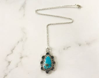 Vintage Sterling Silver + Turquoise Women's Flower Necklace