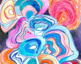 ORIGINAL Art Gift,  abstract painting, coral painting, Watercolor abstract, Underwater art, fine art ocean, ocean theme art, beach lover