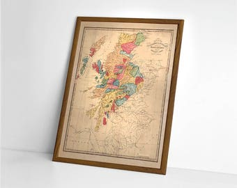 1822 Scottish Clans | Giclée Reproduction, antique wall art, home decor of Scotch Genealogy, old map of Scotland Clans Chart > from 1822