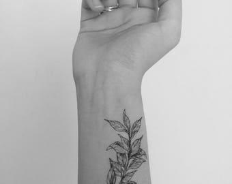 2 of botanical temporary tattoo sticker