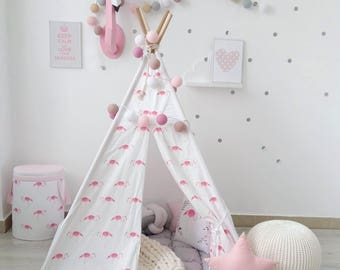 Kids Teepee with Flamingo, kids tipi with poles, Girls teepee, tepee, girl's wigwam, flamingo girls room decor, kids playhouse, play tent