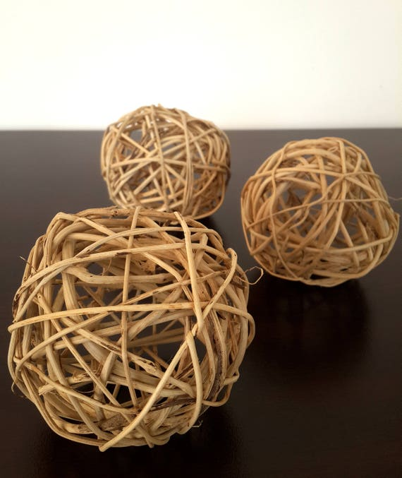 Big wicker balls large decorative rustic decor