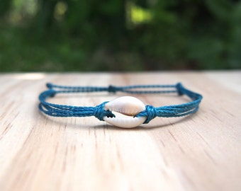 Cowrie Shell Bracelet on Waxed Cord | Waterproof and Adjustable Pura Vida Inspired Bracelet