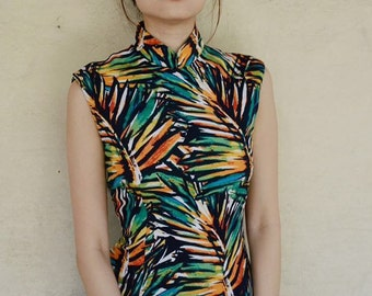 Contemporary Chinese Qipao Dress/ Floral / Multicoloured / Full Length / Chinese Cheongsam / Traditional Cut / Size 8,10,12,14,16