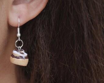 Cinnamon Roll Miniature Polymer Clay Food Jewlery Fishook  Earrings