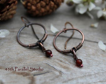 Red Agate Hoop Earrings, Copper Hoop Earrings, Gemstone Earrings, Agate Earrings, Hoops, Gemstone Hoop Earrings, Copper Earrings, Red Agate