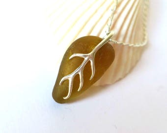 Amber Sea Glass Pendant, Seaglass Necklace, Sea Glass Jewelry, Vine Pendant, Sterling Silver, Seaglass Jewellery, Beach Leaf - P170049