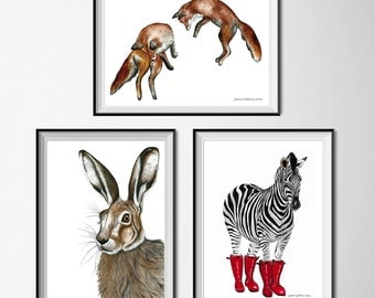 Set of 3 prints, nursery print set, set of 3 nursery prints, pack of 3 animal prints, woodland print set, unframed prints, woodland prints