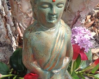 "Concrete Buddha Statue- 10"" tall Meditating Buddha - Distressed Buddha - Zen Garden - Peaceful Buddha Oriental Decor- Cement Buddha"