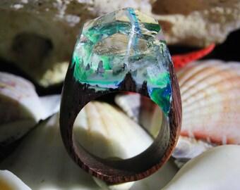 """Wood epoxy resin ring """"TARDIM"""""""