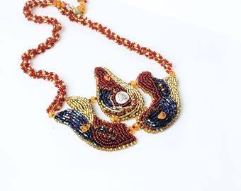 gold red necklace gold black jewelry celestial jewelry leo zodiac necklace august birthday gifts OOAK necklace black red jewelry gift BJ19