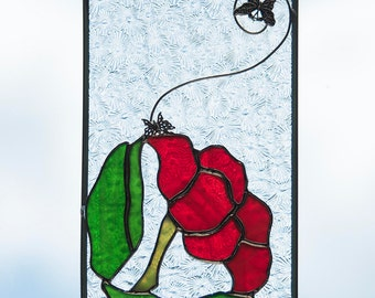 """Stained Glass """"Red Poppy"""" Overlay"""