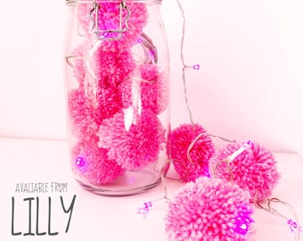 Pom Pom Lights- Hot Pink