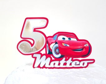 Cars Saetta McQueen cake topper // cars customizable name years cake topper // Saetta McQueen Red Cars birthday party // silver Red cake top