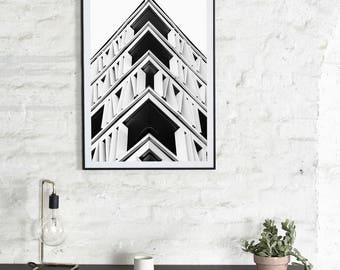 Architectural Poster - Photography Download - Wall Art - Architectural Photography - New York Photography - Black and White Photography