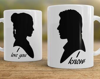 I love You I know mugs, Couples mugs, Star Wars mugs Han Solo and Leia - set of two mugs