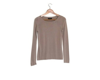Silk cashmere sweater, Vintage neutral knit top, Vtg taupe skinny fit jumper, Fitted blouse, Minimalist natural fiber clothing, xs s small