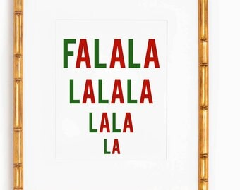 FaLaLaLaLa printable/Red and Green Holiday Printable/Christmas wall art/Christmas Printable/Holiday digital wall art/10x8 digital art