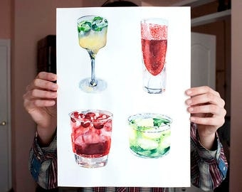 cocktails watercolor drinks, home bar decor cocktail art, watercolor cocktail painting