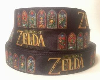 "1/3/5/10 Yards - 7/8"" Legend of Zelda print Grosgrain Ribbon"