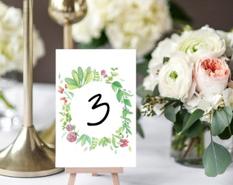 Wedding Table Number Cards, The Mia Suite, Rustic Wedding Suite, Floral Wedding Suite, Printable Table Numbers