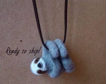 Felted sloth necklace, needle felted sloth, sloth jewelry, sloth charm sloth pendant felted animal necklace needle felted pendant cute sloth