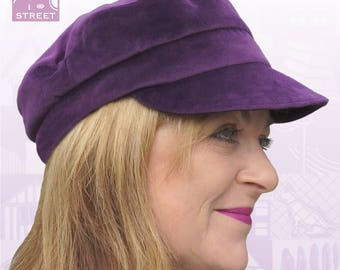 Purple velvet cap fisherman cap fiddler's cap newsboy cap peaked cap