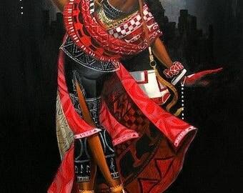 African American Art decor Cross Stitch Pattern-Printable African Art-Digital African American Print-PDF File