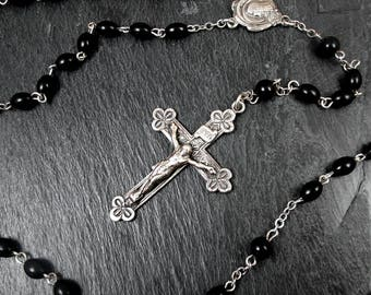 Sterling Silver Catholic Rosary with Crucifix - Vintage