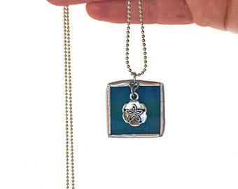 "Sand Dollar Stained Glass Square Necklace  - 30"" 1.5mm Ball Chain. Great Gift! Handmade in Greenville SC"