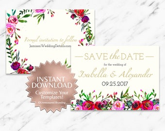 Floral Watercolor Burgundy Pink Roses Printable Save the Date