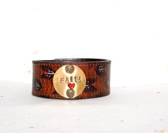 Faith Inspirational Leather Cuff Bracelet