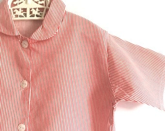 Patti Shirt Red: Vintage 1970s children's striped peter pan collar shirt