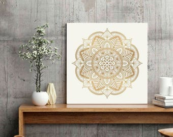 mandala wall art beige bronze print boho style poster living room bedroom wall