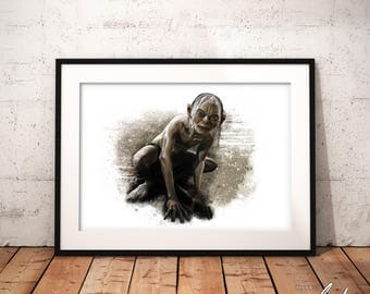 Gollum, The Lord of the Rings, The Hobbit, Artwork, Handmade, Printable Art, Poster, Instant Download, Digital Print, Home Decor, Download