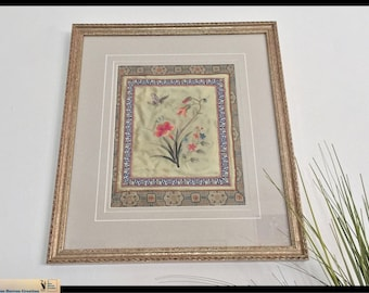 Vintage Silk Embroidered Oriental Wall Hanging, Mid Century Oriental/Asian  Artwork, Silk Embroidery