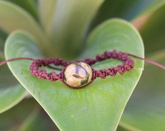 No. 30 Rhyolite Cotton Wax Cord Macrame Style Bracelet