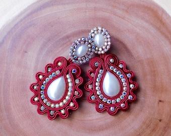 Red Soutache| Red earrings| Soutache party Earrings| Soutache Jewelry| Long Soutache earrings| Bridesmaids earrings| Party Soutache earrings