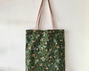 "Handmade tote bag, carry all bag for knitting project 14.5"" x 12.75"" x 2.5"" * Flowers Wonderland 1 *"
