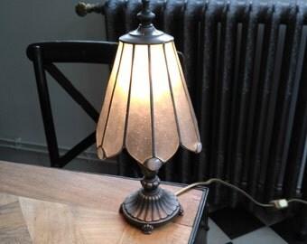 L & L WMC Tiffa-Mini gray vintage stained glass lamp