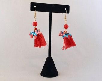 Red Tassel Earrings, Red Earrings Tassel, Red Earrings Long, Horse Earrings, Red Ball Earrings