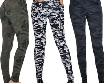 Womens Ladies Camouflage Camo Army Full Length Skinny Fit Leggings With Pockets 6 8 10 12 14 16 18